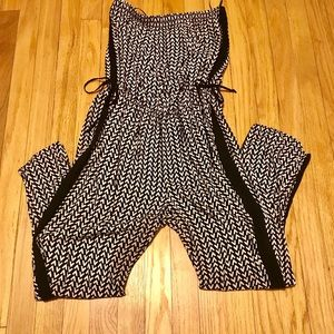Black/Tan Geometric Strapless Jumpsuit, size S